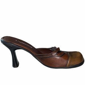 Unlisted Buckle Up Slip On Open Back Brown Heel 7